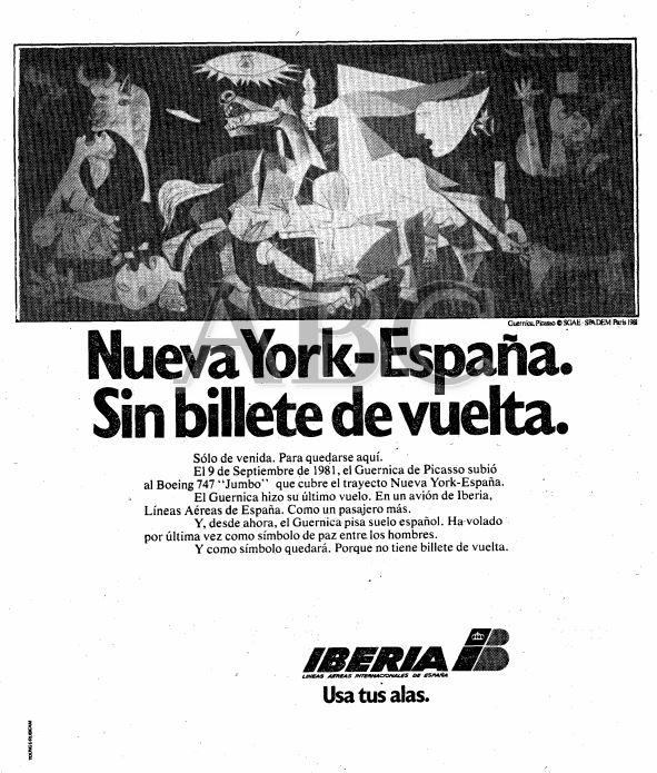 Anuncio de Iberia en el diario 'ABC' celebrando el regreso a España del 'Guernica'