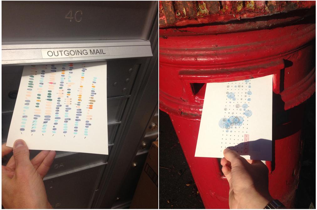 Lupi y Posavec mandando postales en Nueva York y Londres
