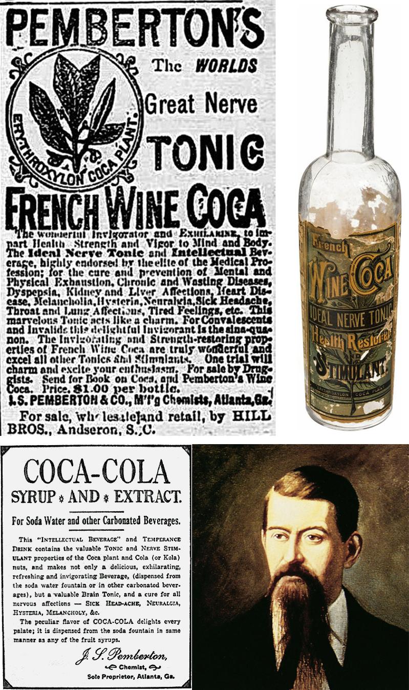 Arriba, el French Wine Coca. Abajo, publicidad de la versión sin alcohol y retrato de Pemberton