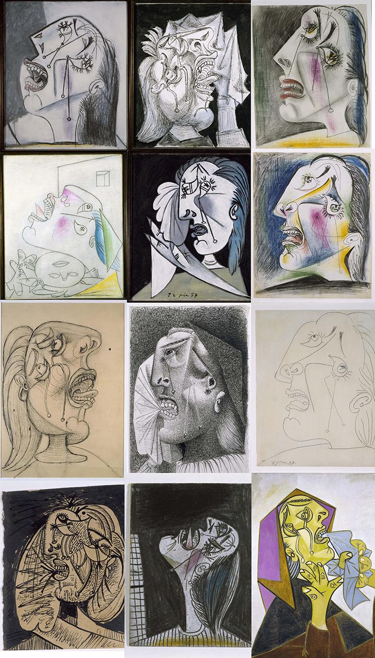 Mujeres llorando dibujadas por Picasso tras haber terminado el 'Guernica' - Museo Nacional Centro de Arte Reina Sofía, Madrid