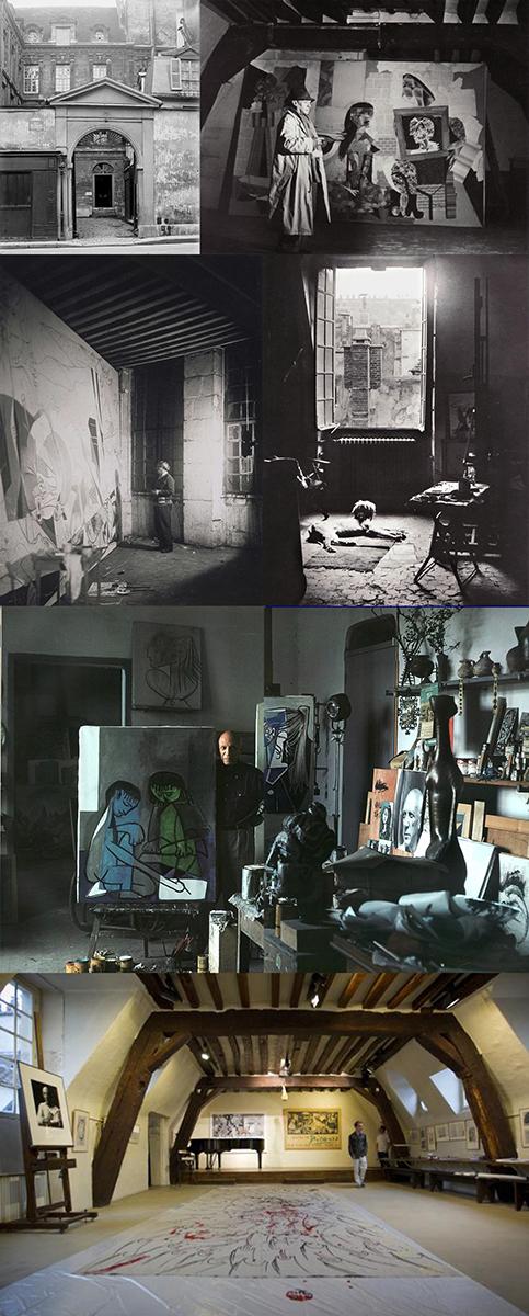 Mosaico de fotos del estudio de Picasso - Abajo, la más reciente, en julio de 2013 (Foto: V. Wartner - 20 minutes)