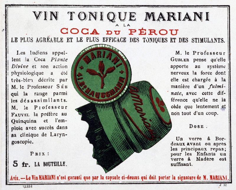 Etiqueta francesa de Vin Mariani 'a la coca du Pérou'