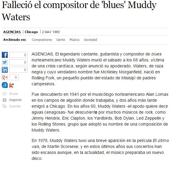 Necrológica de Muddy Waters