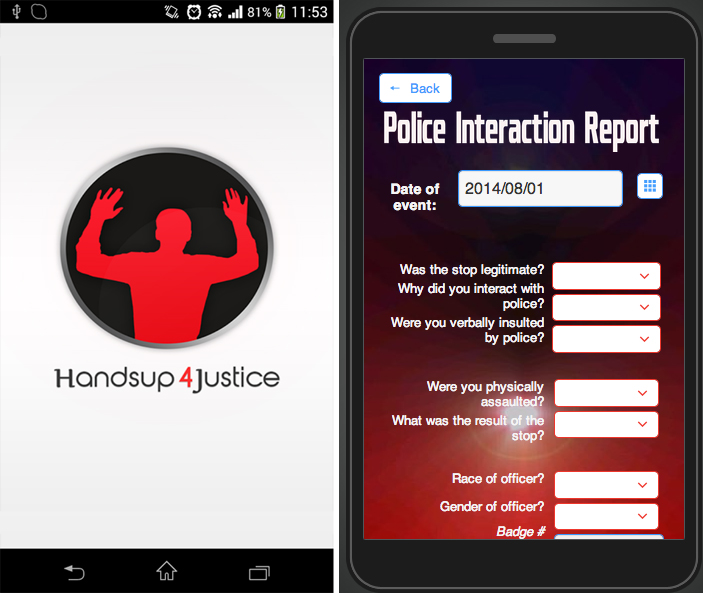Capturas de las APP Hands Up 4 Justice y I'm Getting Arrested