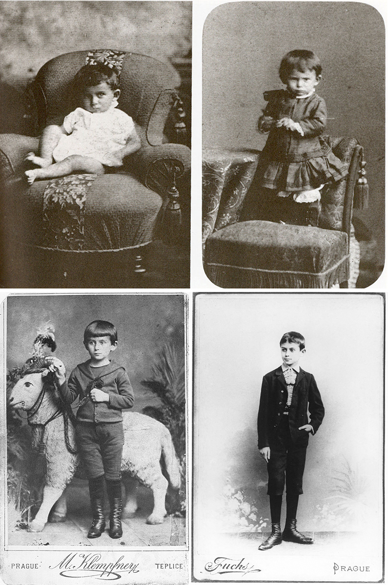 Franz Kafka en 1884 (arriba izquierda), 1886 (arriba derecha), 1888 (abajo izquierda) y 1896 (abajo derecha)