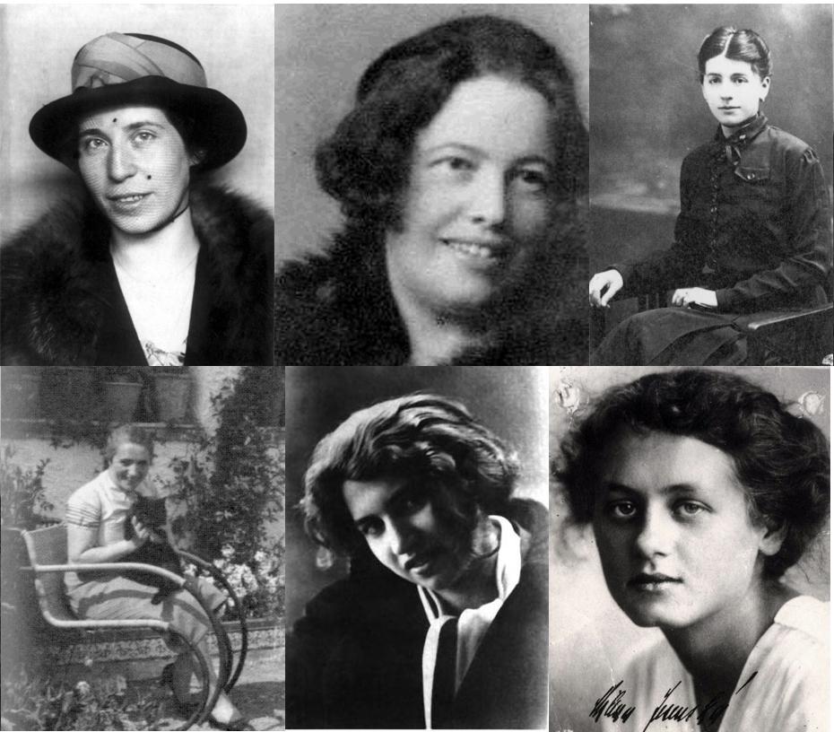 Arriba, desde la izquierda, Felice Bauer, Hedwig Weiler y Julie Wohryzek. Abajo, Grete Bloch, Dora Diamant y Milena Jesenská