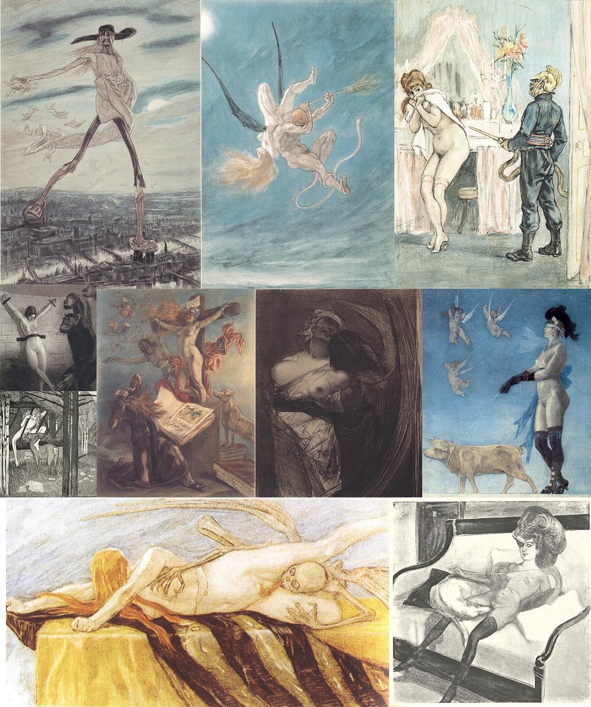 Algunos de los dibujos eróticos que coleccionaba Kafka