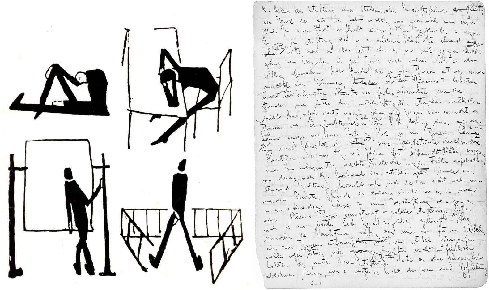 """Bocetos dibujados por Franz Kafka (izquierda) y página manuscrita de """"El proceso"""""""