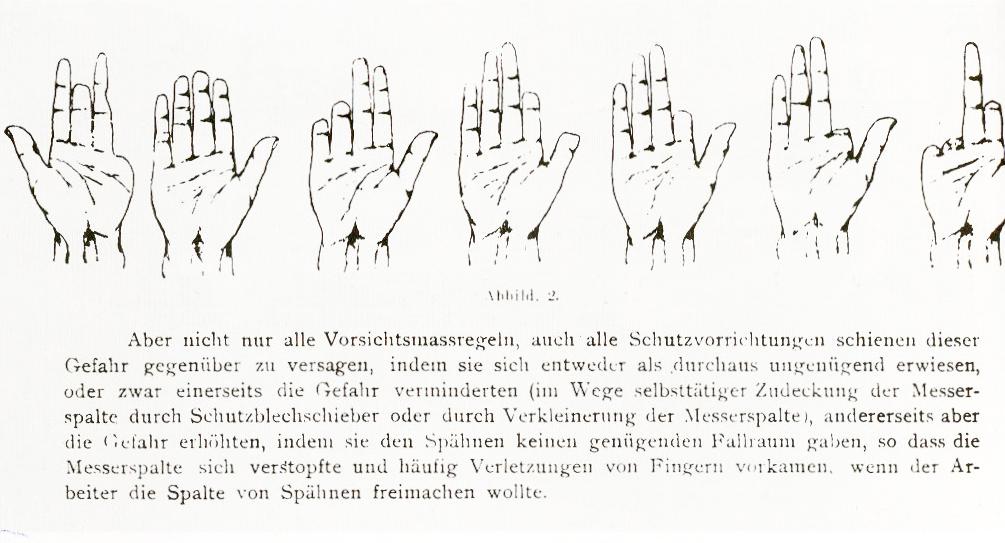 Extracto de un artículo de Kafka sobre la prevención de accidentes en las máquinas cepilladoras de madera, 1909