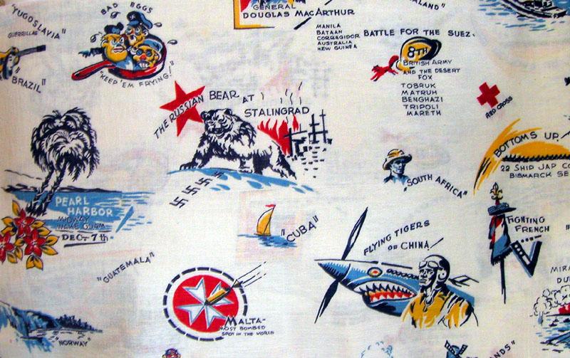 Estampado de saco con temática de la II Guerra Mundial