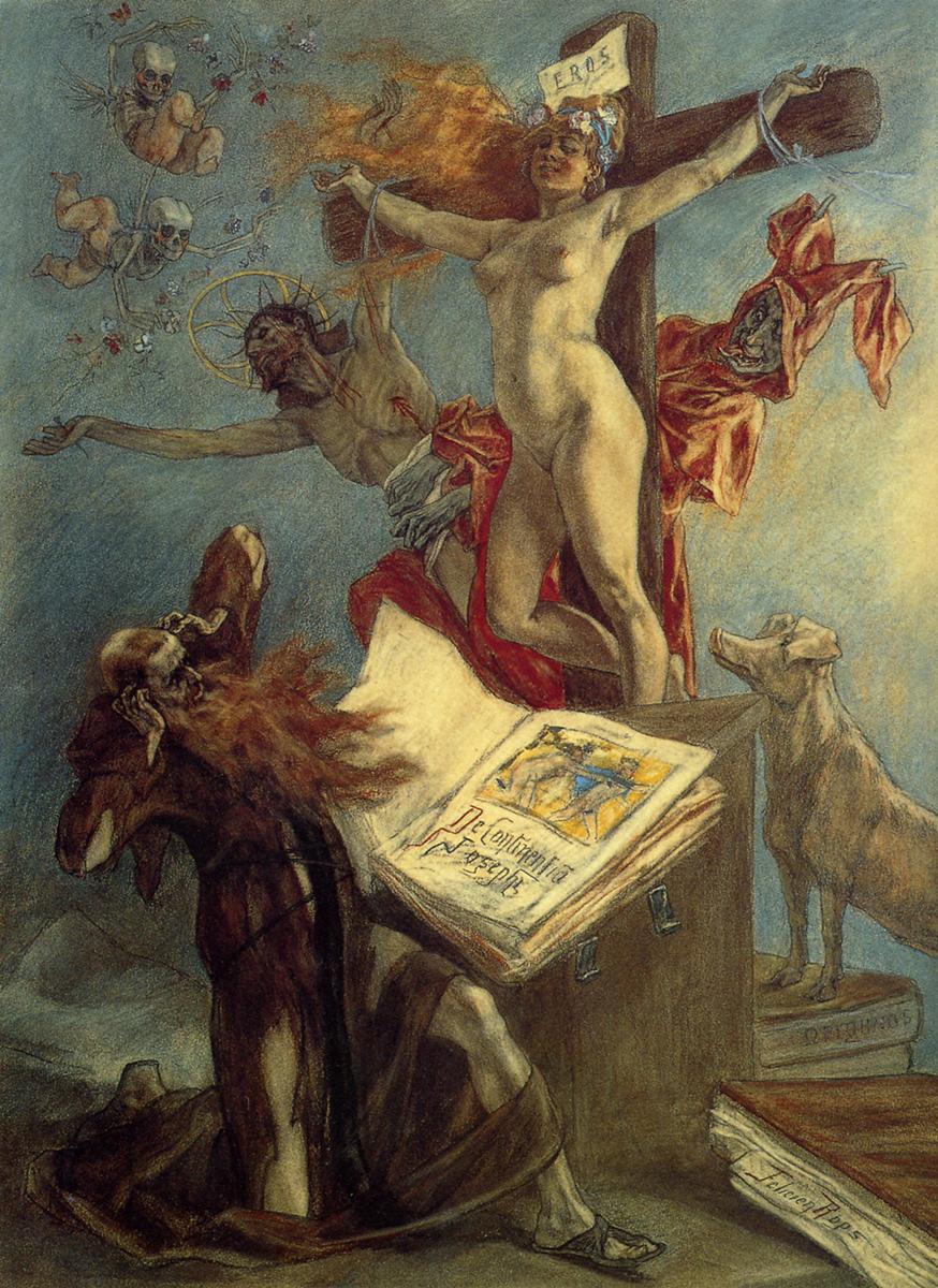"""""""La Tentation de saint Antoine"""", 1878 - Félicien Rops (Dominio público)"""