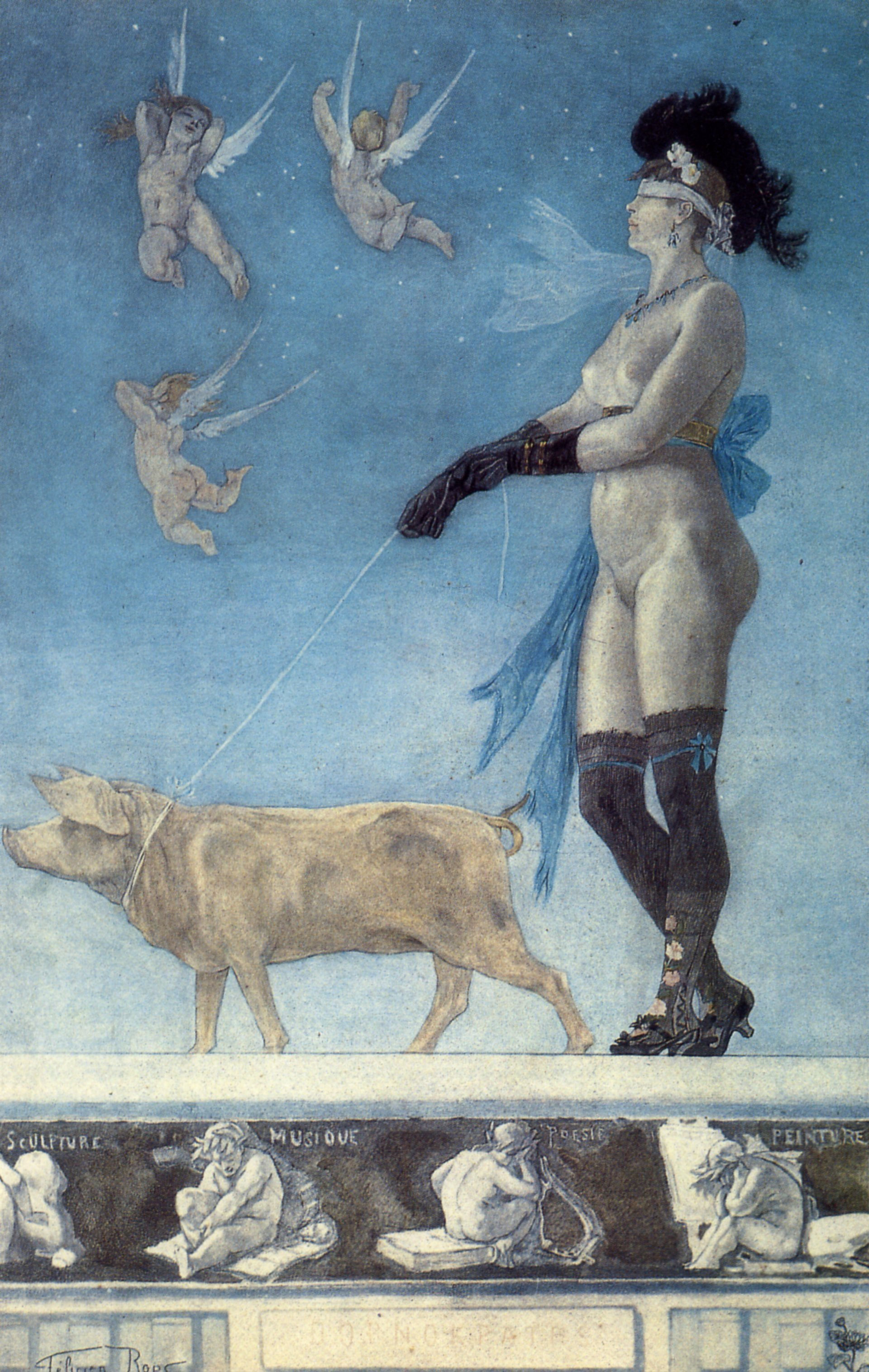 """""""Pornocratès"""" (1896) - Félicien Rops (Dominio público)"""