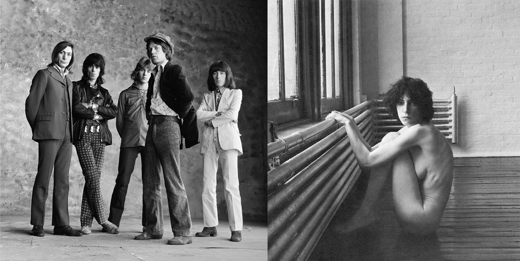 Descarte de la sesión de fotos de promoción de 'Sticky Fingers'. Foto: © Peter Webb. Patti Smith retratada en 1976. Foto: © Robert Mapplethorpe