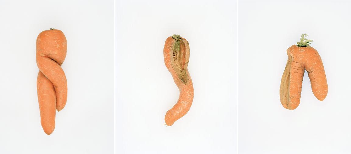 Tres de las zanahorias 'defectuosas' fotografiadas por Tim Smyth