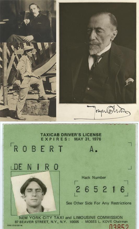 Robert Louis Stevenson (arriba, izquierda), Jack London (abajo),  Joseph Conrad (arriba, derecha) y la licencia de taxista de Robert De Niro - Fotos: Harry Ransom Center