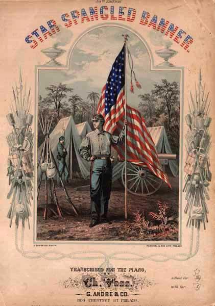 Cubierta de la partitura para piano de 'The Star-Spangled Banner' - Filadelfia, 1862 (Project Gutenberg)