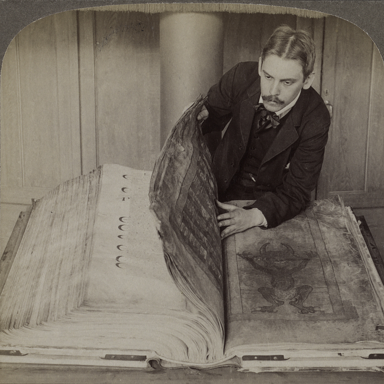 Imagen del 'Códex Gigas' en 1906 - Foto: National Library of Sweden