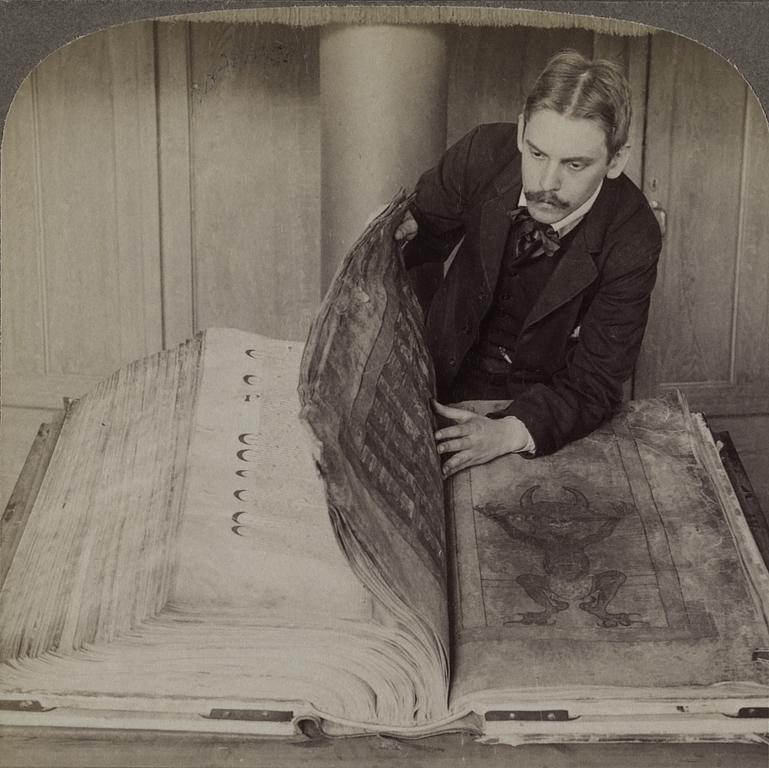 Imagen del 'Códex Gigas' en 1906 - Foto: National Library of Sweden