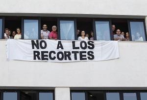 Protesta de funcionarios contra los recortes