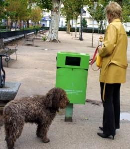 Una mujer recoge la caca de su mascota.