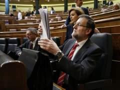 El presidente del Gobierno, Mariano Rajoy, consulta unos documentos. (EFE/Juan Carlos Hidalgo)