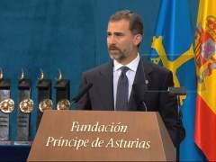 Felipe VI durante su discurso en la entrega de Premios Príncipe de Asturias. (FUNDACIÓN PREMIOS PRÍNCIPE DE ASTURIAS).