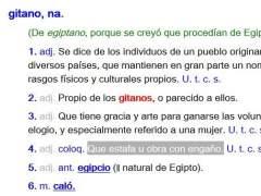 Diversas acepciones de la palabra 'gitano' en la RAE.