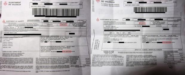 """La multa por """"circular por acera..."""" (izq) se realizó el 28 de julio y se emitió el 23 de agosto. La multa por """"conducir llevando cascos"""" (drcha) se realizó el mismo día, pero se emitió el 14 de noviembre."""