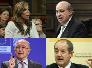 Combo de imágenes de cuatro políticos españoles (ARCHIVO)