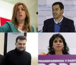 De izquierda a derecha, y de arriba abajo: Susana Díaz (PSOE), Juanma Moreno (PP), Antonio Maíllo (IU) y Teresa Rodríguez (Podemos). (EFE/ARCHIVO)
