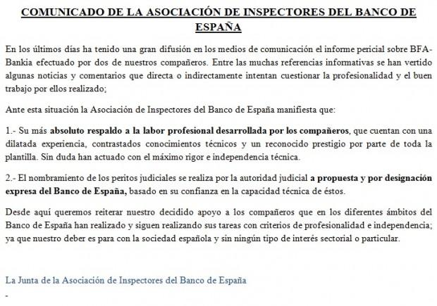 asociacion inspectores BdE apoya a los peritos