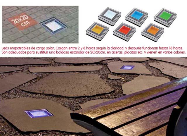Leds solares empotrables que cargan por el día y funcionan por la noche.