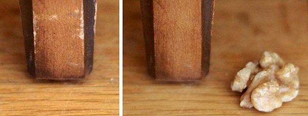 Los aceites naturales de la nuez nutren y reparan los desperfectos en la superficie de la madera.