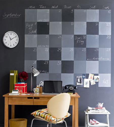 este diseo combina distintos tonos de gris en la pintura de pizarra