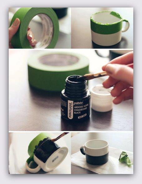 Tazas DIY con pintura de pizarra