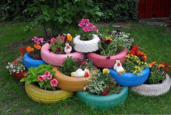 Imagenes e ideas para reciclar taringa for Decoracion de jardin con neumaticos