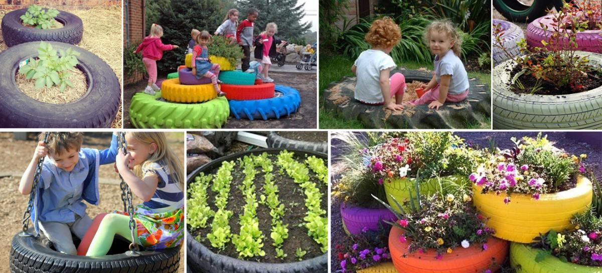Reciclaje sobre ruedas 5 grandes ideas para darle nueva for Decoracion de jardines y parques