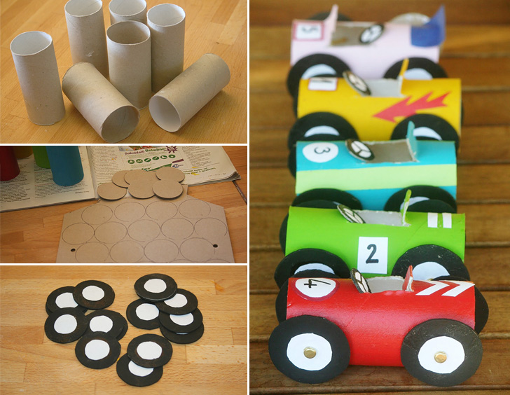 Juguetes anticrisis: los cochecitos de carrera de cartón WC para pequeños pilotos de la casa