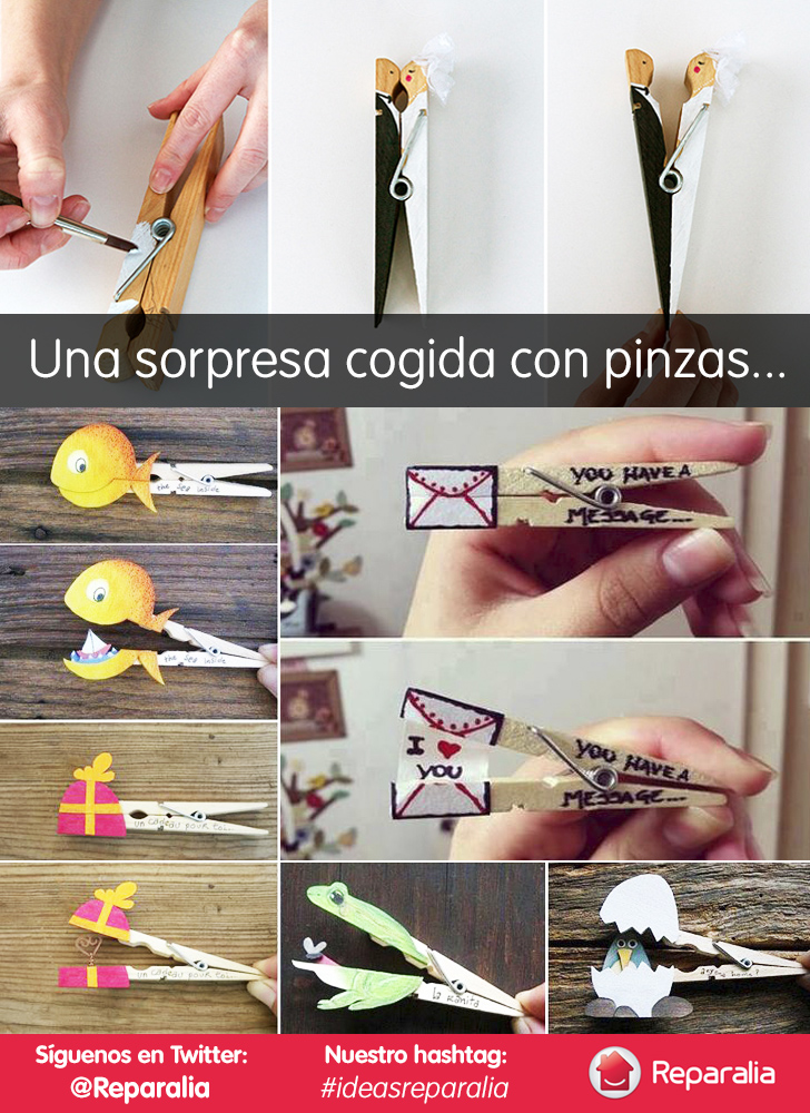 Una idea DIY original para decorar regalos o mensajes con pinzas de la ropa