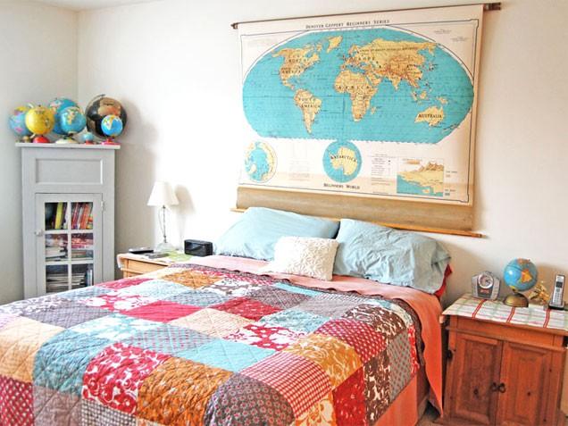 12 cabeceros de cama diy low cost que te sorprender n for Mapa del mundo decoracion