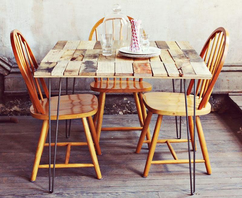 mesa diy con palets reciclados a lo tetris - Mesas Palets