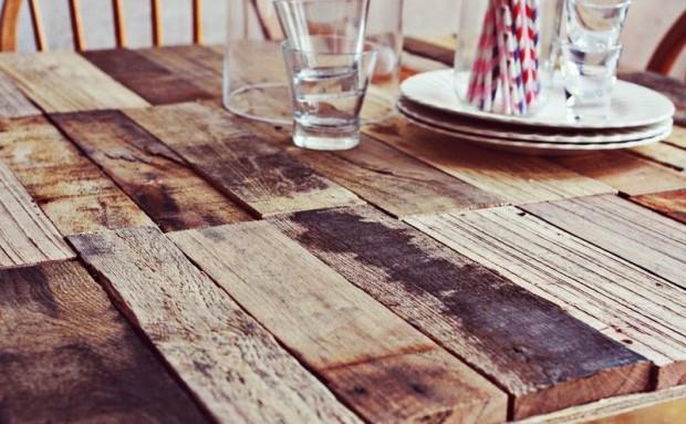 Mesa diy con palets reciclados a lo tetris un hogar - Mesas palets madera ...