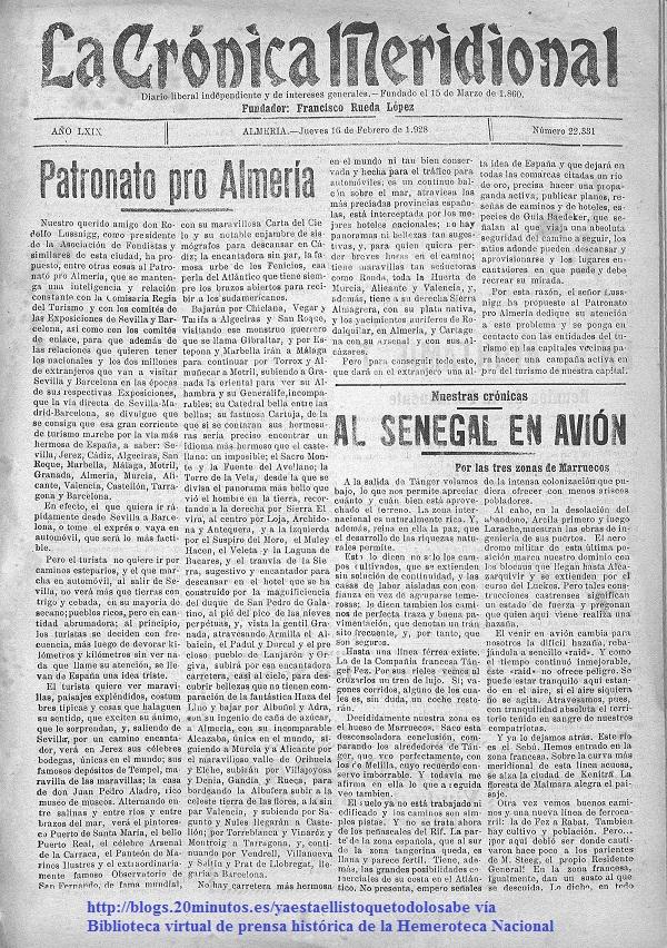 """Portada del diario """"La Crónica Meridional"""" del 16 de febrero de 1928 haciéndose eco de la campaña de promoción almeriense como """"Costa del Sol"""" puesta en marcha por Rodolfo Lussnigg"""