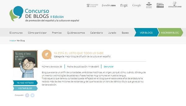 """El blog """"Ya está el listo que todo lo sabe"""" en la II Edición del Concurso de Blogs de promoción del español y la cultura en español"""