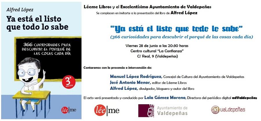 """Presentación del libro """"Ya está el listo que todo lo sabe"""" en Valdepeñas"""