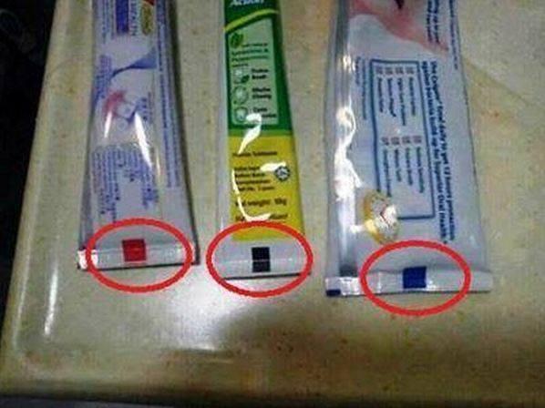 ¿Qué significan las marcas de colores que aparecen en los tubos de pasta de dientes?