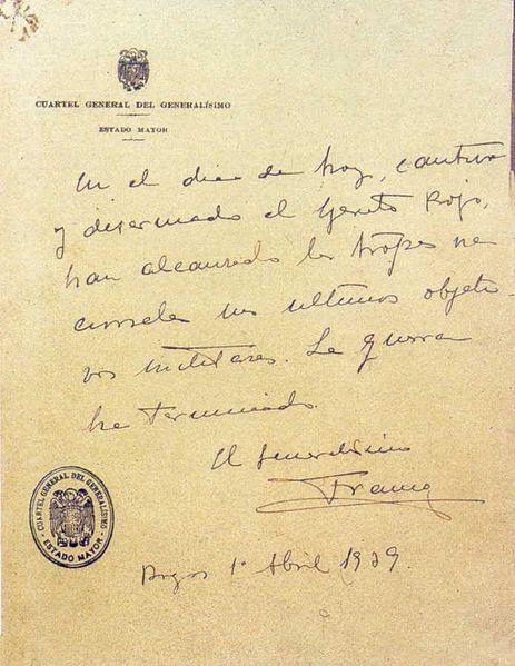 75 aniversario del fin de la Guerra Civil Española - último parte de la Guerra Civil Española (1º abril 1939)