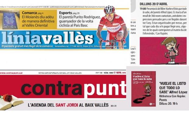 Vuelve el listo que todo lo sabe en los periódicos LíniaVallès y Contrapunt